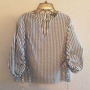 Express Puffy Sleeve Grey & White Stripe Blouse